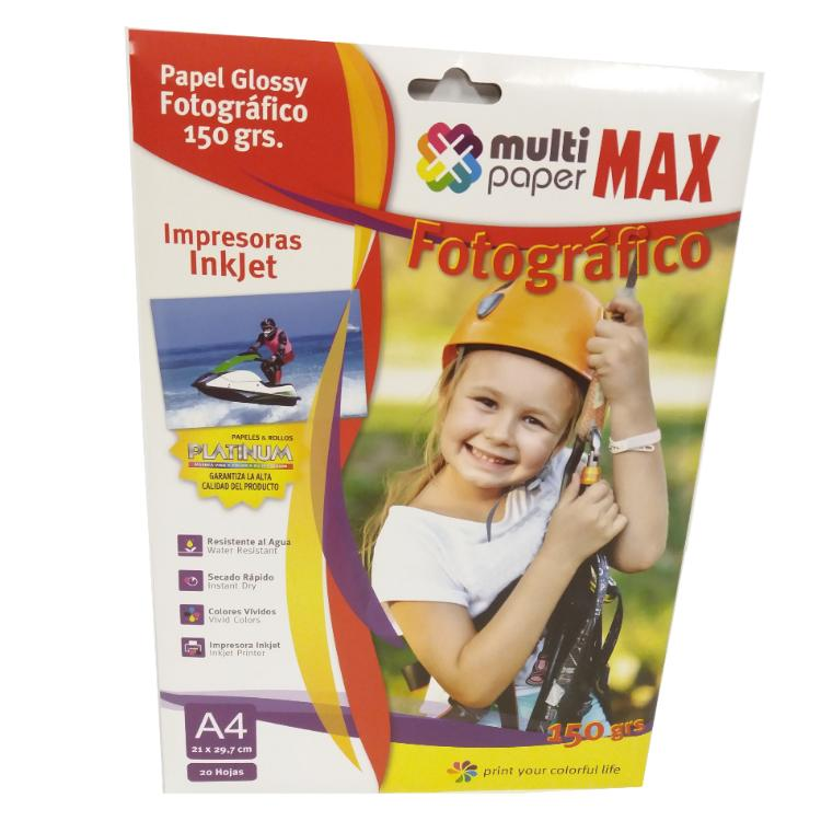 PAPEL FOTOGRAFICO PAPER MAX GLOSSY 150 GR. A4 BLISTER X 20