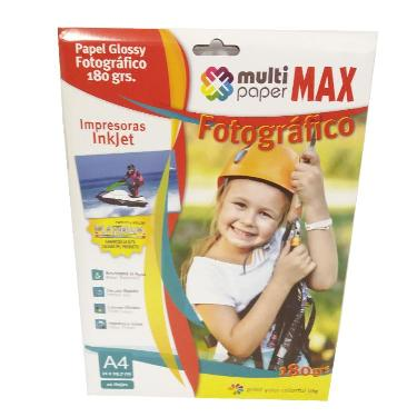 PAPEL FOTOGRAFICO PAPER MAX GLOSSY 180 GR. A4 BLISTER X 20
